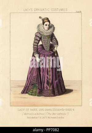 Gabrielle d'Estrees, mistress of Henry IV of France, 1595. Costume from a staging of James Robinson Planche's operetta 'The Fair Gabrielle,' 1822. Handcoloured lithograph from Thomas Hailes Lacy's 'Female Costumes Historical, National and Dramatic in 200 Plates,' London, 1865. Lacy (1809-1873) was a British actor, playwright, theatrical manager and publisher. - Stock Photo