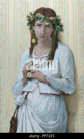 William Shakespeare (1564-1616). English poet. Engraving of The Tragedy of Hamlet. Ophelia character. Colored. - Stock Photo