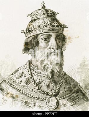 Ivan IV Vasilyevich (1530-1584), known as Ivan the Terrible. Grand Prince of Moscow (1533-1547) and Tsar of All the Russias (1547-1584). Portrait. Engraving. - Stock Photo