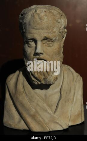 Isokrates (436-338 BC). Athenian orator. Bust. Roman copy after a original greek. 3rd century BC. Marble. Neues Museum. Berlin. Germany. - Stock Photo