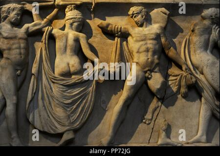 Front side of sarcophagus. Modern work after 2nd century AD originals. Marriage of Dionysus and Adriane. Detaiel. Glyptothek. Munich. Germany. - Stock Photo