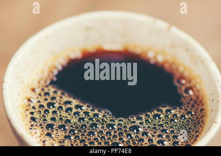 black coffee, Americano, vintage filter image - Stock Photo