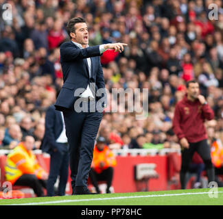 London, UK. 23rd Sep, 2018. Head coach Marco Silva of Everton gestures during the English Premier League match between Arsenal and Everton at the Emirates Stadium in London, Britain on Sept. 23, 2018. Arsenal won 2-0. Credit: Marek Dorcik/Xinhua/Alamy Live News Stock Photo