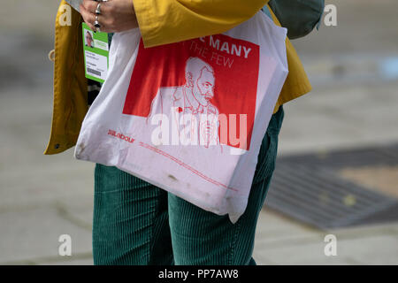 Liverpool, Merseyside, UK. 23rd Sept 2018. Labour Party Conference. Supporters, delegates, people at the echo arena, politics as the city stages its annual political event. Credit; MediaWorldImages/AlamyLiveNews. - Stock Photo