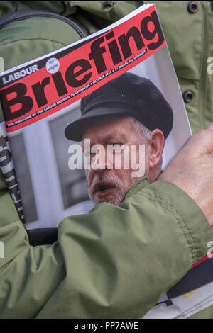 Liverpool, Merseyside, UK. 23rd Sept 2018. Labour Party Conference. Briefing for supporters, delegates, people at the echo arena as the city stages its annual political event. Credit; MediaWorldImages/AlamyLiveNews. - Stock Photo