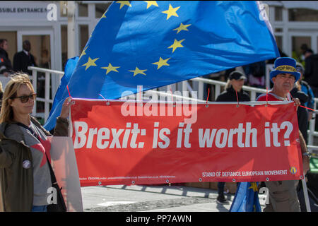 Liverpool, Merseyside, UK. 23rd Sept 2018. Labour Party Conference. Stop Brexit campaingers, supporters, delegates, people at the echo arena, as the city stages its annual political event. Credit; MediaWorldImages/AlamyLiveNews. - Stock Photo