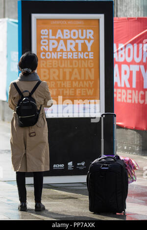 Liverpool, Merseyside, UK. 23rd Sept 2018. Labour Party Conference. Supporters, delegates, people at the echo arena as the city stages its annual political event. Credit; MediaWorldImages/AlamyLiveNews. - Stock Photo