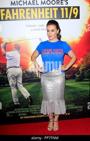 Alyssa Milano at arrivals for FAHRENHEIT 11/9 Premiere, Samuel Goldwyn Theater at AMPAS, Beverly Hills, CA September 19, 2018. Photo By: Priscilla Grant/Everett Collection - Stock Photo