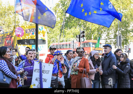 Downing Street, Westminster, London, 24th Sep 2018. Anti-Brexit and Pro-EU protesters with EU flags and placards demonstrate outside Downing Street as Cabinet Ministers drive in for today's Cabinet Meeting at the Prime Minister's official residence. Credit: Imageplotter News and Sports/Alamy Live News - Stock Photo