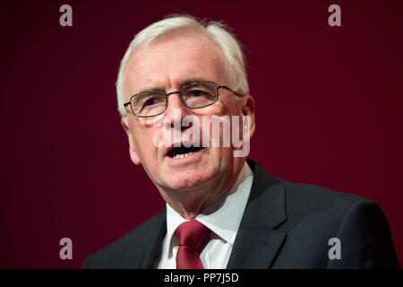 Liverpool, UK. 24th September 2018. John McDonnell, Shadow Chancellor of the Exchequer and Labour MP for Hayes and Harlington speaks at the Labour Party Conference in Liverpool. © Russell Hart/Alamy Live News. - Stock Photo