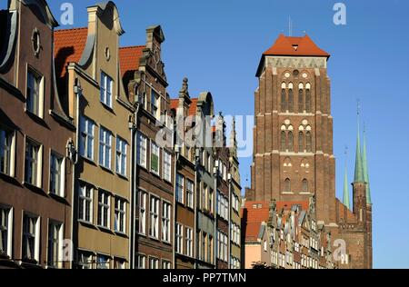 Poland. Gdansk. St. Mary's Basilica (Bazylika Mariacka) 1343-1502. Tower crowned with a viewing gallery. - Stock Photo