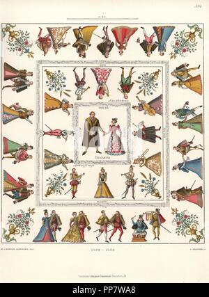 Tablecloth in white canvas decorated with images of the wedding of Count Poppo von Henneberg and Sophia von Braunschweig, with musicians, music notation, and courtiers dancing. Chromolithograph from Hefner-Alteneck's Costumes, Artworks and Appliances from the Middle Ages to the 17th Century, Frankfurt, 1889. Illustration by Dr. Jakob Heinrich von Hefner-Alteneck, lithographed by C. Regnier. Dr. Hefner-Alteneck (1811-1903) was a German museum curator, archaeologist, art historian, illustrator and etcher. - Stock Photo