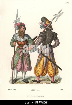 German soldiers with halberds wearing harem pants, late 16th century. Gunpowder expert with his back to us, and soldier with cap and armour collar. From color pen drawings in the possession of C. Becker of Wurzburg. Chromolithograph from Hefner-Alteneck's Costumes, Artworks and Appliances from the Middle Ages to the 17th Century, Frankfurt, 1889. Illustration by Dr. Jakob Heinrich von Hefner-Alteneck, lithographed by C. Regnier. Dr. Hefner-Alteneck (1811-1903) was a German museum curator, archaeologist, art historian, illustrator and etcher. - Stock Photo
