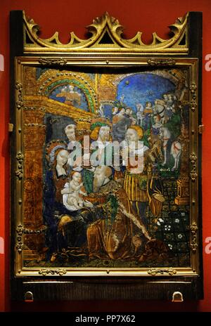 Jean I Penicaud (1480-after 1541). French painter. Plate with scene depicting The Adoration of the Magi, first third of 16th century. Limoges. Copper and enamel. The State Hermitage Museum. Saint Petersburg. Russia. - Stock Photo