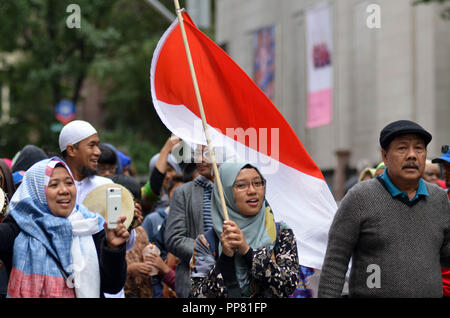 Manhattan, United States. 23rd Sep, 2018. September 23, 2018: Annual Muslim Day Parade on Madison Avenue, New York City. Credit: Ryan Rahman/Pacific Press/Alamy Live News - Stock Photo