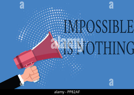Word writing text Impossible Is Nothing. Business concept for Anything is Possible Believe the Realm of Possibility. - Stock Photo