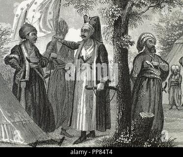Janissaries. Elite infantry units that formed the Ottoman Sultan's household troops and bodyguards. Engraving. 19th century. - Stock Photo
