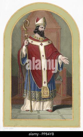 Saint Denis of Paris (3rd century AD). Bishop of Paris. Colored engraving. 19th century. - Stock Photo