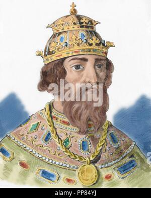 Ivan IV Vasilyevich (1530-1584), known as Ivan the Terrible. Grand Prince of Moscow (1533-1547) and Tsar of All the Russias (1547-1584). Portrait. Engraving. Colored. - Stock Photo