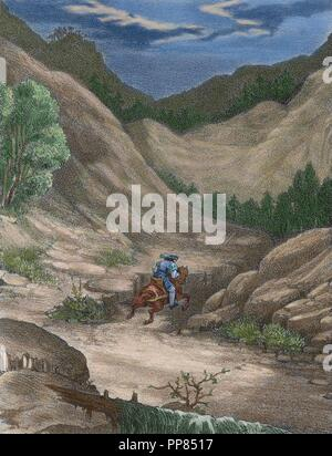 Antonio Perez (1540-1611), Spanish politician, running away. He participated in the murder of Escobedo (1578) implying Philip II in the act. He was sentenced to two years in prison. Engraving in 'Historia de Espan a',19th century. Colored. - Stock Photo