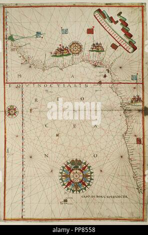 Portolan atlas of the world by Joan Martines (1556-1590). West Coast of the African Continent. Messina, 1587. National Library. Madrid. Spain. - Stock Photo