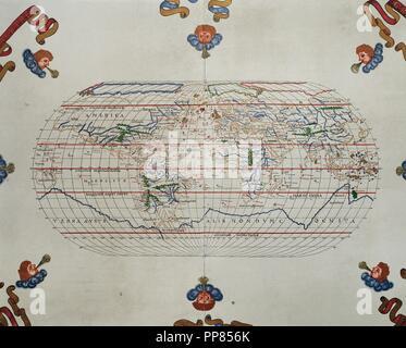 Portolan atlas of the world by Joan Martines (1556-1590). Messina, 1587. National Library. Madrid. Spain. - Stock Photo