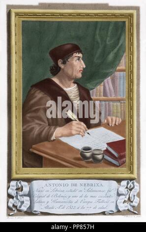 Antonio de Nebrija (1441-1522). Spanish scholar, historian, teacher and poet. Engraving. Colored. - Stock Photo
