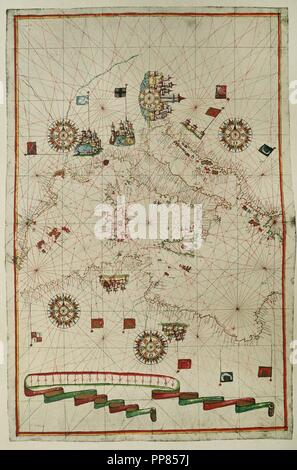 Portolan atlas of the world by Joan Martines (1556-1590). Messina, 1587. Western Mediterranean. National Library. Madrid. Spain. - Stock Photo