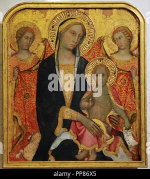 Paolo di Giovanni Fei (c. 1345- c. 1411). Italian painter. Sienese school. Madonna with Child and Two Angels, middle of the 1380s. Tempera on canvas (transferred from panel). The State Hermitage Museum. Saint Petersburg. Russia. - Stock Photo