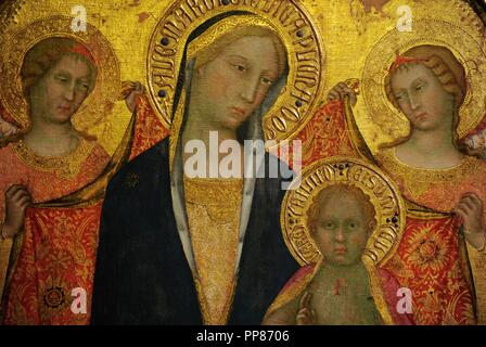 Paolo di Giovanni Fei (c. 1345- c. 1411). Italian painter. Sienese school. Madonna with Child and Two Angels, middle of the 1380s. Detail. Tempera on canvas (transferred from panel). The State Hermitage Museum. Saint Petersburg. Russia. - Stock Photo