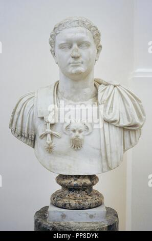 Emperor Domitian (51-96 AD). Flavian Dynasty. Modern bust by the Italian sculptor Guglielmo della Porta (c.1500-1577). National Archaeological Museum. Naples, Italy. - Stock Photo