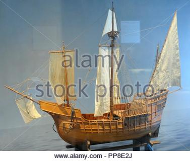 Age of Discovery. Caravel ship. Used by oceanic exploration voyages during the 15th and 16th centuries. Model. Norwegian Maritime Museum. Oslo. Norway. - Stock Photo