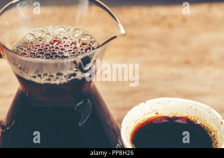 black coffee, Americano, vintage filter image - Stock Photo