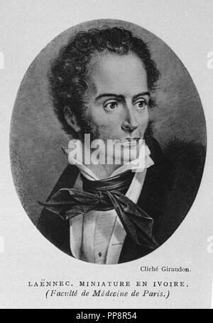 René-Théophile-Hyacinthe Laennec (1781-1826), French physician. He invented the stethoscope in 1816, while working at the Hôpital Necker, and pioneered its use in diagnosing various chest conditions. Author: GIRAUDON. Location: BIBLIOTECA NACIONAL-COLECCION. MADRID. SPAIN. - Stock Photo