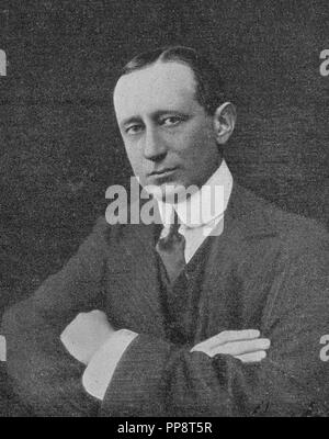 Guglielmo Marconi, 1st Marquis of Marconi (25 April 1874 – 20 July 1937) was an Italian inventor and electrical engineer known for his pioneering work on long-distance radio transmission and for his development of Marconi's law and a radio telegraph system. - Stock Photo