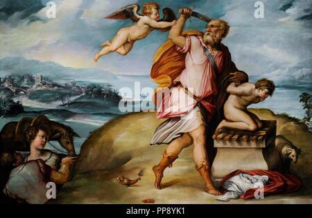 Sacristy of St Giovanni Carbonara by Giorgio Vasari (1511-1574) and Cristofano Gherardi (1508-1556). The Sacrifice of Isaac. National Museum of Capodimonte. Naples. Italy. - Stock Photo