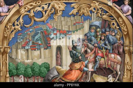 Boabdil (1460-1527), the last Nasrid ruler of Granada, gives the keys of the city to the Catholic Kings. Lithograph by J. Parra Bachiller reproducing a scene from the choir stalls of the Cathedral of Toledo. Colored. - Stock Photo