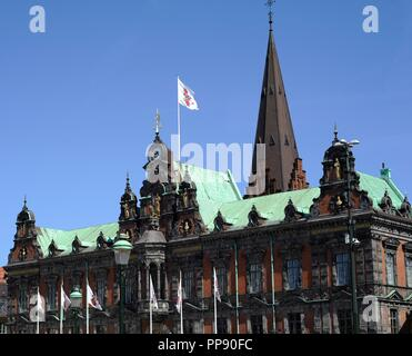 Sweden.  Malmo. Stortorget square with the historical town hall, built 1544-1547 with its renewed facade in Dutch Renaissance style from 1860. - Stock Photo