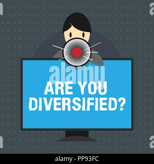 Text sign showing Are You Diversified question. Conceptual photo someone who is Different Mixed Multi Faceted. - Stock Photo