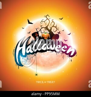 Happy Halloween illustration with moon, flying bats and pumpkin hand on orange background. Vector Holiday design template with typography lettering and cemetery for greeting card, flyer, banner, celebration poster or party invitation. - Stock Photo