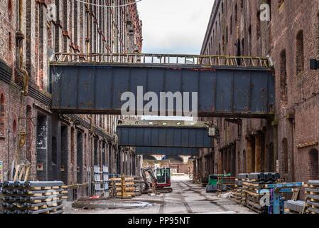 Renovation work on the Stanley Dock Tobacco Warehouse (1901) Regent Road, Liverpool, Merseyside, England, UK April 2018. - Stock Photo