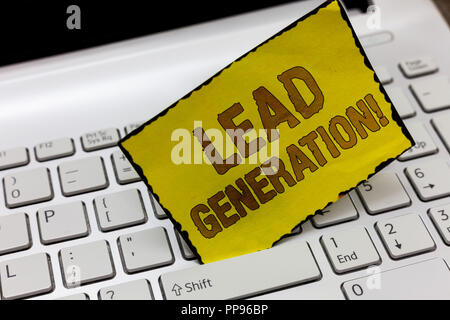 Text sign showing Lead Generation. Conceptual photo initiation of consumer interest or enquiry into products. - Stock Photo