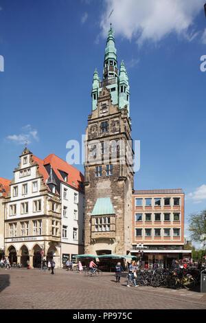 Street Ludgeristrasse with City House Tower, Münster in Westphalia , North Rhine-Westphalia, Germany, Europe   I Muenster in Westfalen :  Fussgaengerz - Stock Photo