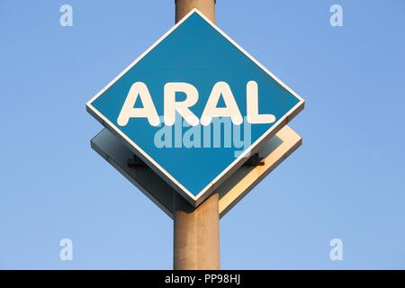Budelsdorf, Germany - July 22, 2018: Aral sign on a panel. Aral is a brand of automobile fuels and petrol stations, present in Germany and Luxembourg - Stock Photo
