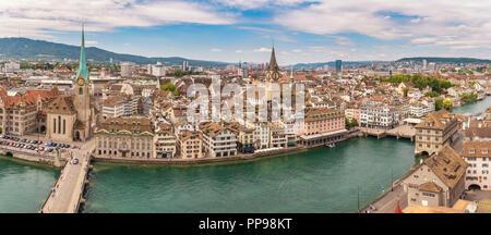 Zurich Switzerland, aerial view panorama city skyline from Grossmunster - Stock Photo