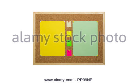 Cork bulletin board with wooden frame, pinned colored paper, isolated on white - Stock Photo