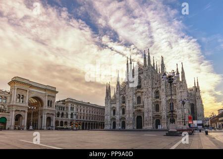 Milan Italy, sunrise city skyline at Milano Duomo Cathedral - Stock Photo
