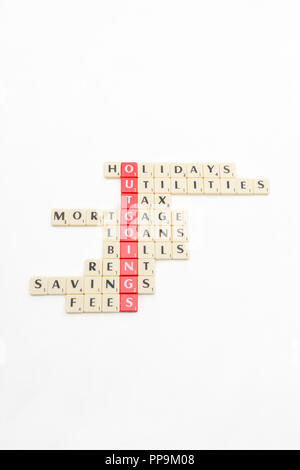 Letter tiles spelling out aspects of personal finances / financial management, and running up bills, debts, personal loans etc. - Stock Photo