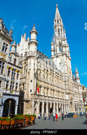 Hotel de Ville, town hall, Grand Place, Grote Markt, main square, Brussels, Belgium - Stock Photo
