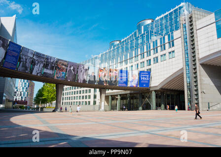 Esplanade, European Parliament, Espace Leopold, Leopold Quarter, Brussels, Belgium - Stock Photo